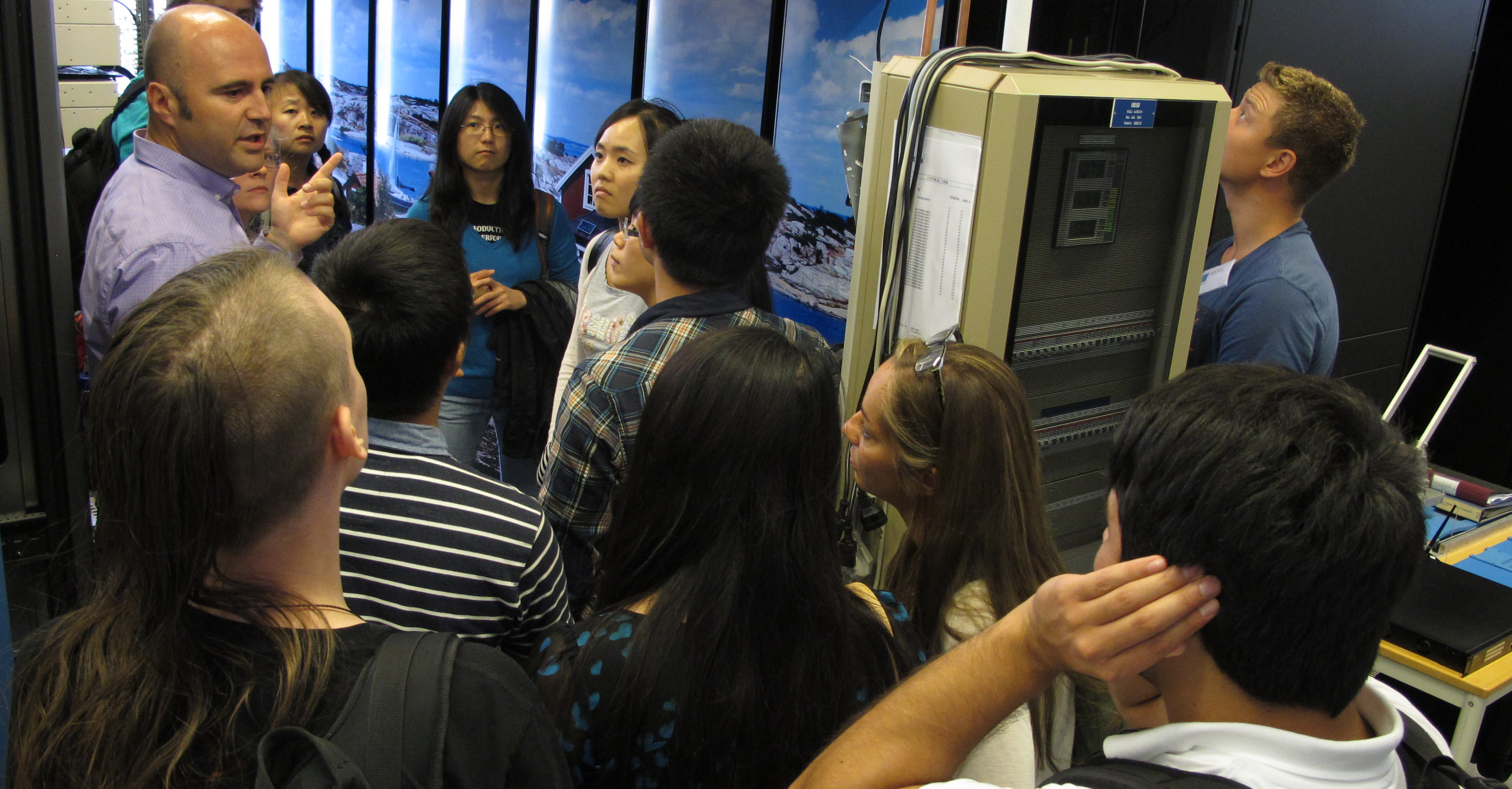 Students on a tour of PDC computer hall during a PDC summer school